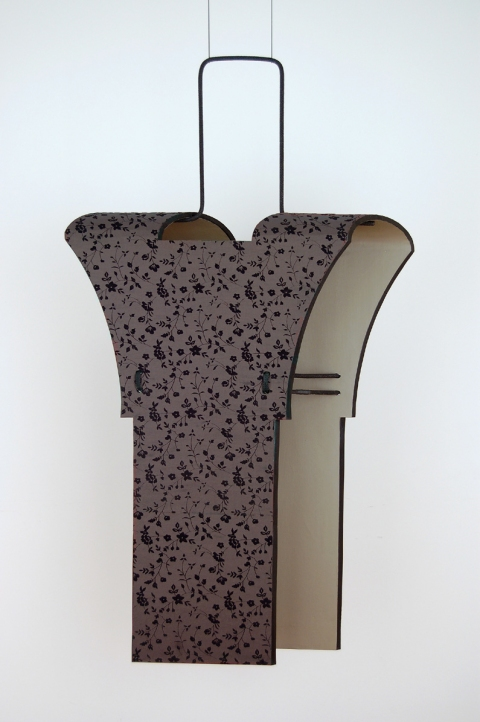Diane Simpson Bibs, Vests, Collars, Tunic   (2006-2008) fabric, painted canvas on wood, cord over aluminum rod