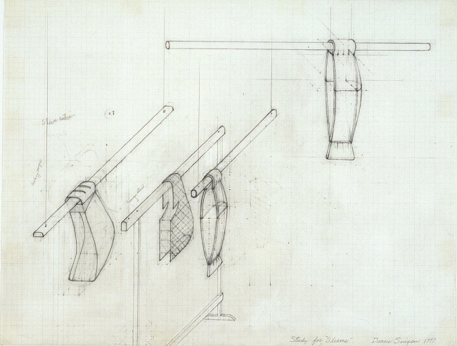 Diane Simpson Sleeves    (1996-2000) pencil on vellum graph paper