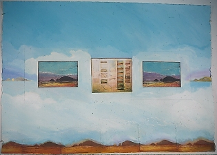 Donna Moran Large Painting/Collage Work 1980's Paint, Paper, Etching on canvas