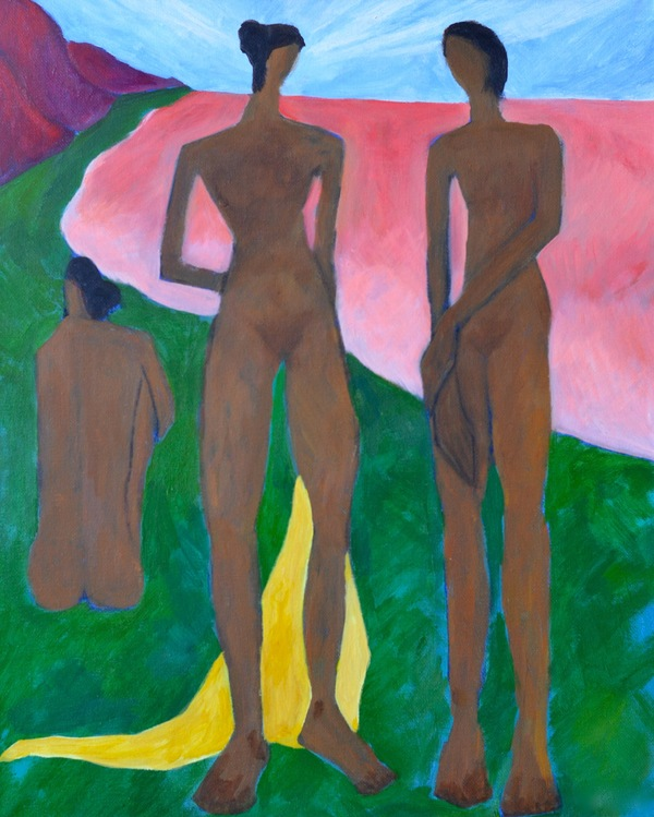 Domingo Carrasco Figures acrylic on canvas