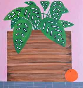 "Domingo Carrasco Originals Houseplant with Orange  acrylic on panel  25""x25"""