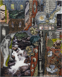 Dominick Anthony Takis Image Gallery 2.             MRI Collages: 2001 - 2004 Acrylic, Oil, Cut out Media, Organic Matter on MRI Film