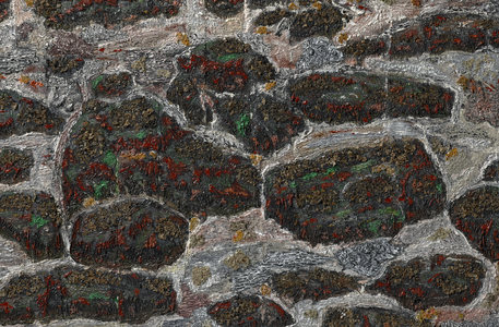 Dominick Anthony Takis  Image Gallery 3.   Iceland Landscape                       acrylic, tempera, lichen, mixed media in silicone caulking on canvas