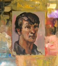 Don Keene Portraits Oil and collage on cardboard