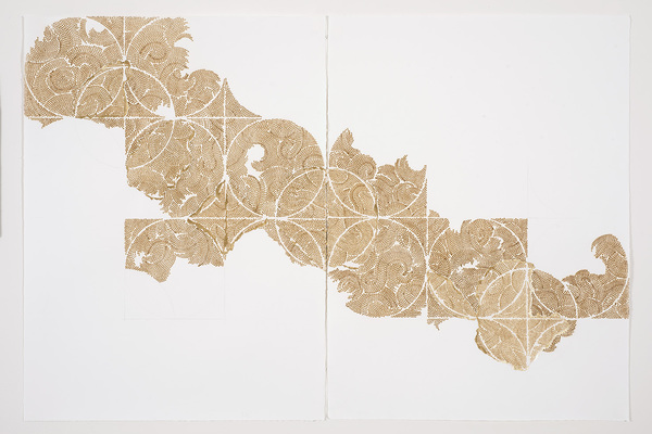 Frieze series, burn and gold leaf Frieze 23