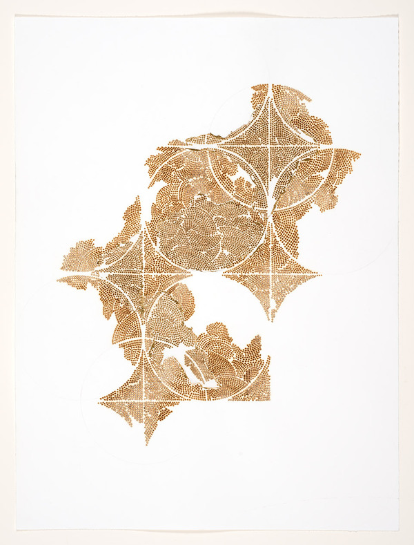 Frieze series, burn and gold leaf Frieze 8
