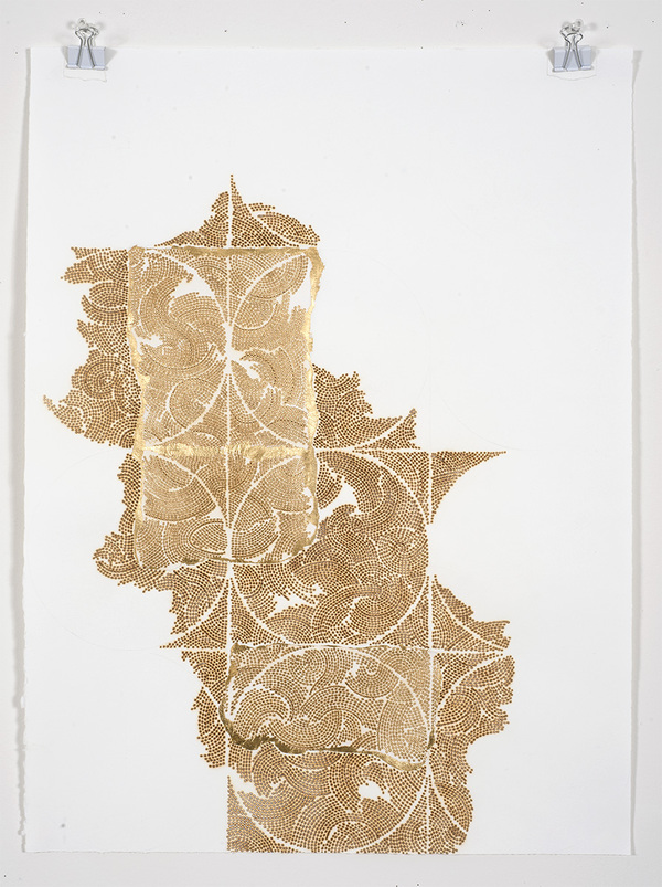 Frieze series, burn and gold leaf Frieze 24