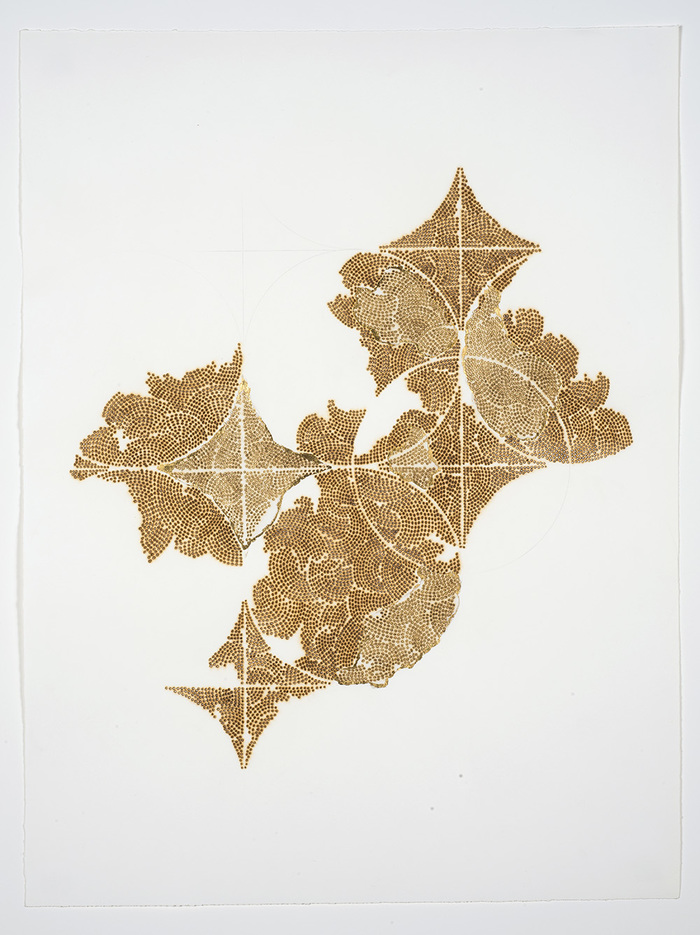 Frieze series, burn and gold leaf Frieze 11