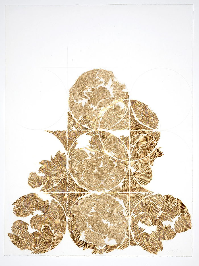 Frieze series, burn and gold leaf Frieze 14
