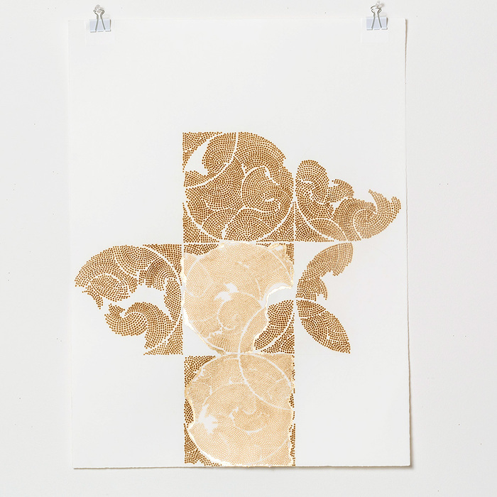 Frieze series, burn and gold leaf Frieze 19