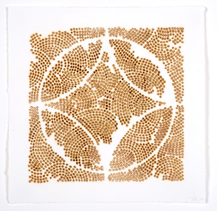 Frieze series, burn and gold leaf Burn and gold leaf on paper