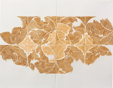 Frieze series, burn and gold leaf Burn and gold leaf, graphite on paper