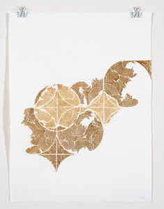Frieze series, burn and gold leaf Burn and gold leaf, graphite on handmade paper