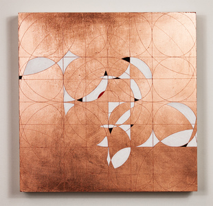 Copper leaf paintings Flashe on copper leaf on panel