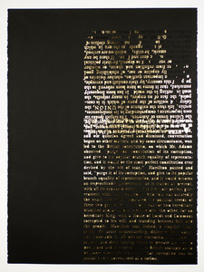 Federalist Papers laser cut stonehenge paper, gold leaf