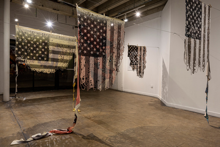 Caravana textile works dye sublimation prints on blankets, wire and clothespins