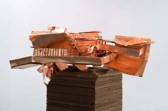 donovan barrow sculpture cardboard, copper leaf, UV sealant