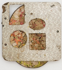 donovan barrow paintings and mixed media found Formica panel over acrylic on wood cutting board