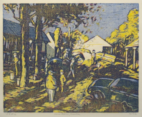 Don Wynn Horse Barns woodcut