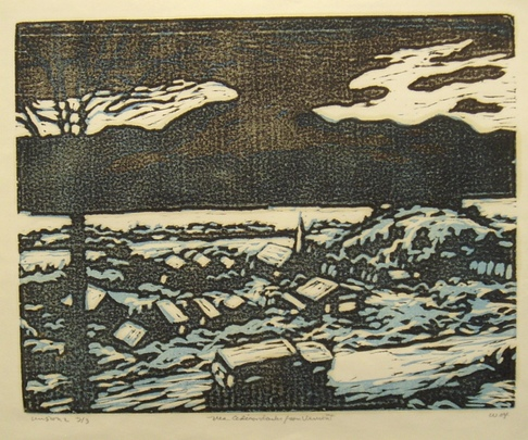 Don Wynn The Adirondacks from Vermont woodcut