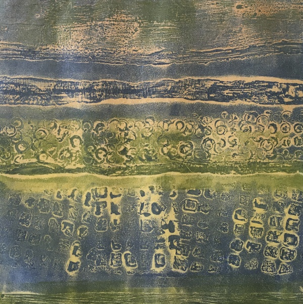 Encaustic Collagraphs on Washi Western Landscape 2