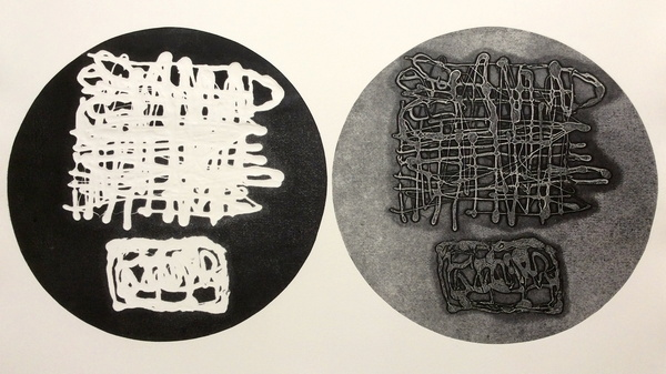 DOROTHY COCHRAN Relief Prints Relief print with Yupo and stencils