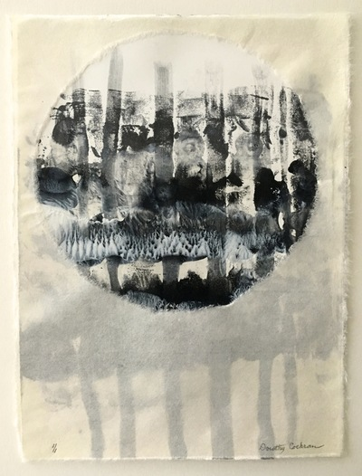 DOROTHY COCHRAN Encaustic Monotypes - Wabi-Sabi Series Encaustic Monotype, Graphite, Overlay of Kozo