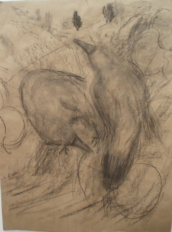 Donna Powers Drawings charcoal on brown craft paper