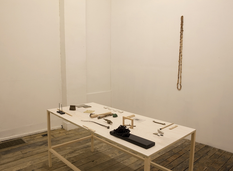 The Pleasure's Mine Installation View - Long Table, Peach Pits