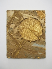 Edmund Chia 2013 Acrylic, sand, found fabric on board