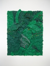 Edmund Chia 2011-a Acrylic, sand, twine, glass, canvas on panel