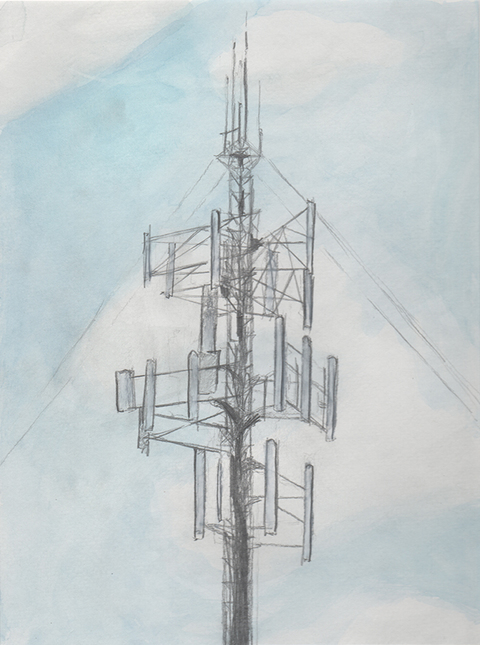 Edwin Salmon Works on Paper / Cell Tower Portraits Paper, Ink, Colored Pencil, Watercolor