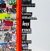 EGON ZIPPEL / Online Archive Devandalizing (in general) Stickers and signaling tape from NYC on canvas