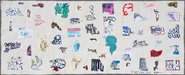 EGON ZIPPEL / Online Archive Devandalizing (in general) Sticker fragments on unstretched canvas
