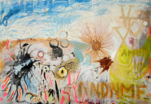 EGON ZIPPEL / Online Archive Paintings (in general) Acrylic, household paint, insects, feathers, found tape on canvas