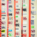 EGON ZIPPEL / Online Archive Devandalizing (in general) Stickers from NYC, signaling tape and acrylic paint on canvas