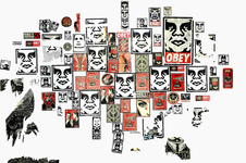 EGON ZIPPEL / Online Archive DEVANDALIZING Stickers poster fragments from NYC on canvas