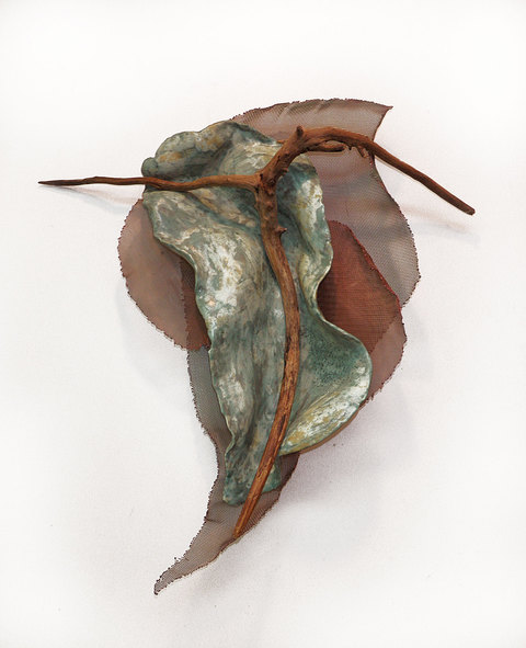Elaine Lorenz Wall Sculptures Copper Mesh, Wood, Ceramic