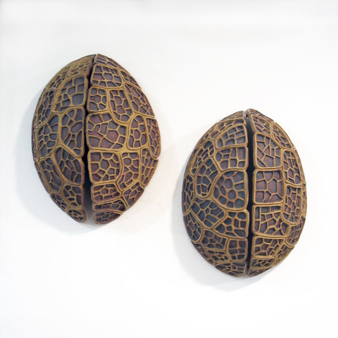 Elaine Lorenz Wall Sculptures Stoneware clay, Oxide stain