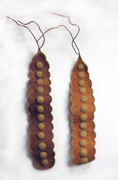 Elaine Lorenz Wall Sculptures Ceramic, acrylic stain, copper