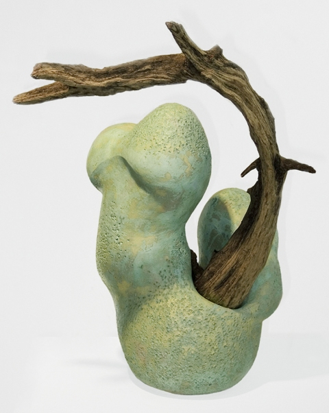 Elaine Lorenz ARCHIVE - Embodiment Ceramic, glazed, driftwood
