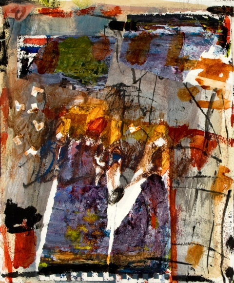 elaine souda Dreams of Manhattan Paintings Acrylic and Mixed Media Collage on Paper