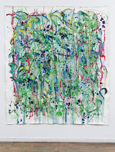 ELENI SMOLEN Biophilia Beginnings 1998 > oil and mixed media on unstretched canvas