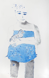 ELENI SMOLEN Girl by the Sea/Guardian Series/2019 > Oil and ink on Arches oil paper