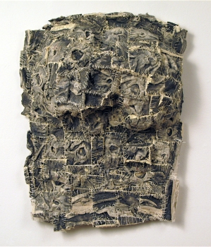 Elisa D'Arrigo Sewn and Constructed Cloth and Paper Works handmade paper, thread, pigments