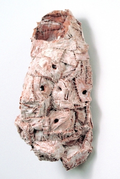 Elisa D'Arrigo Sewn and Constructed Cloth and Paper Works handmade paper, thread, acrylic paint, marble dust