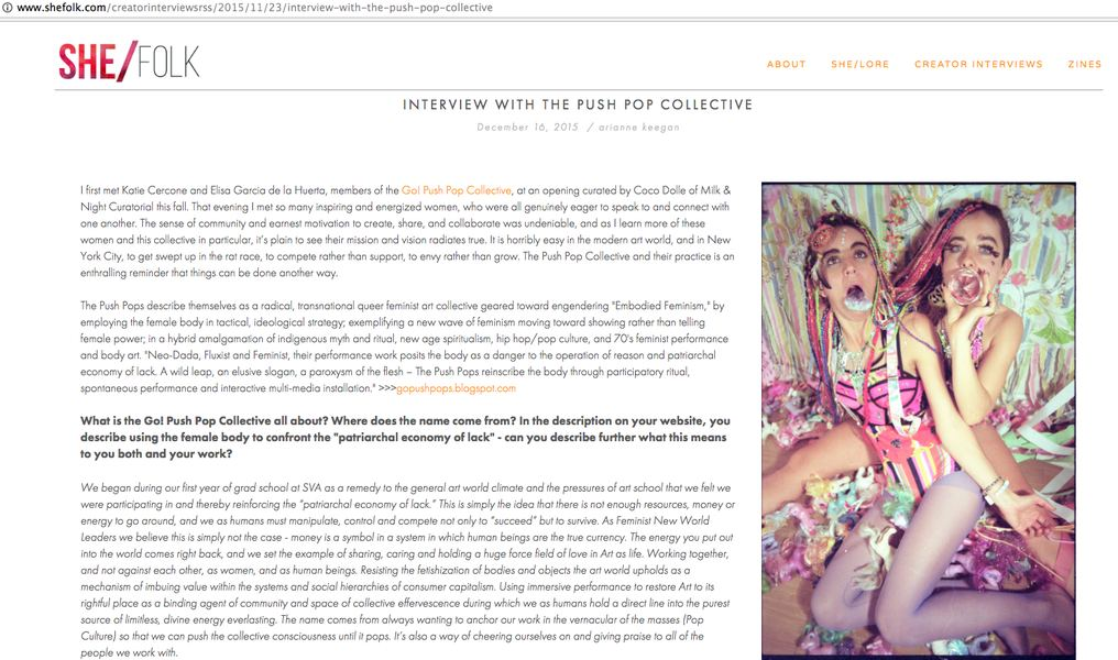Press SHE/FOLK Interview with Go!PushPops collective, 2015
