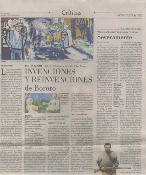 Press El Mercurio Newspaper, Artes y Letras Critica de Arte, Art Critic by Waldemar Sommer, A11 Oct 19