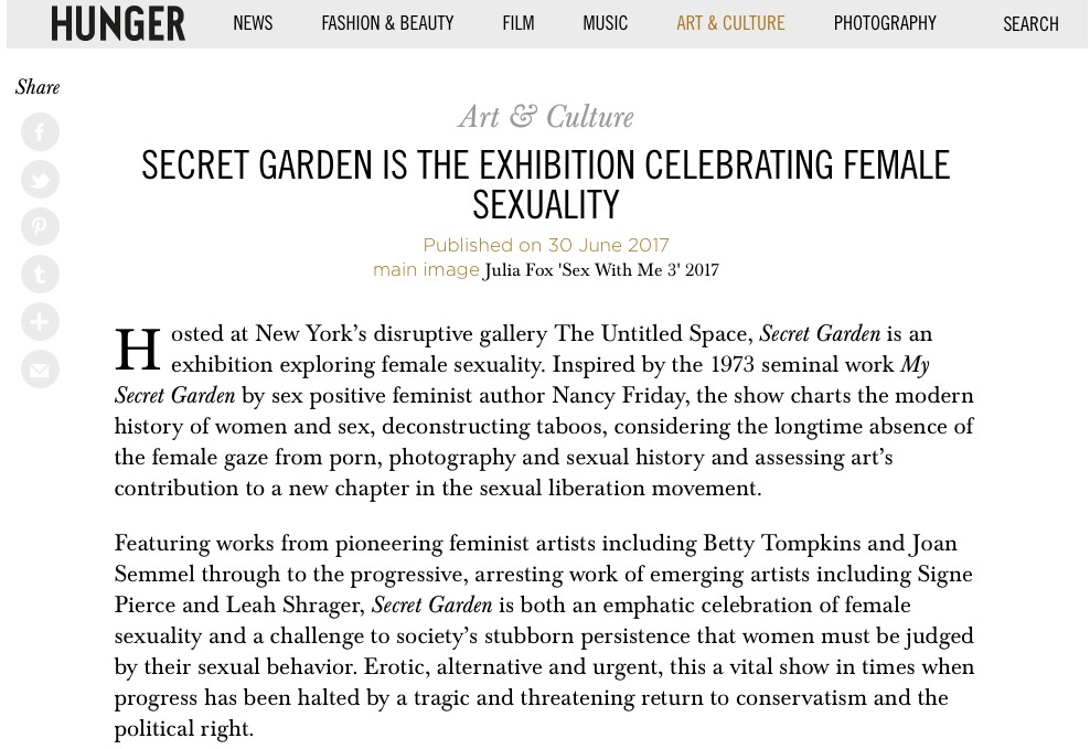 Press HUNGER, Secret Garden is an exhibition Celebrating Female Sexuality