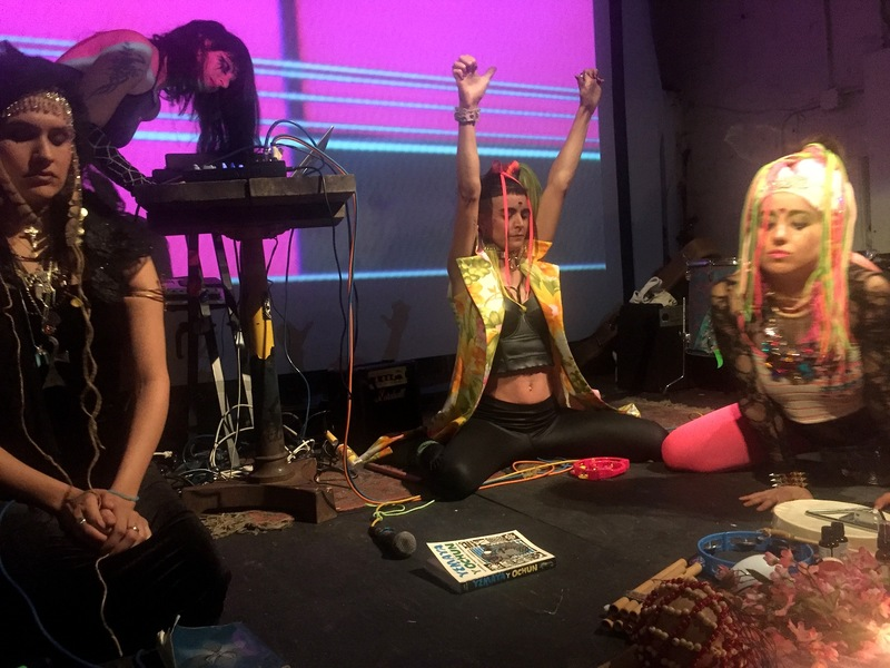 Go!PushPops  GODDESS PARTY IV, 2016, ritual and live sound collaboration with Doorways of Le Sphinxx and Monchy Indie, Secret Project Robot, Bushwick, Brooklyn, NY, photo: David J Williams